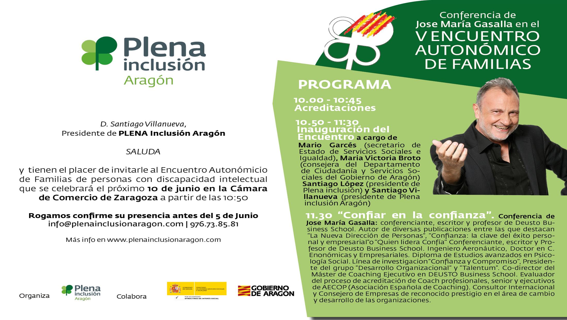 V Encuentro Autonómico de familias. PLENA Inclusión. Aragón. 10 de Junio 2017